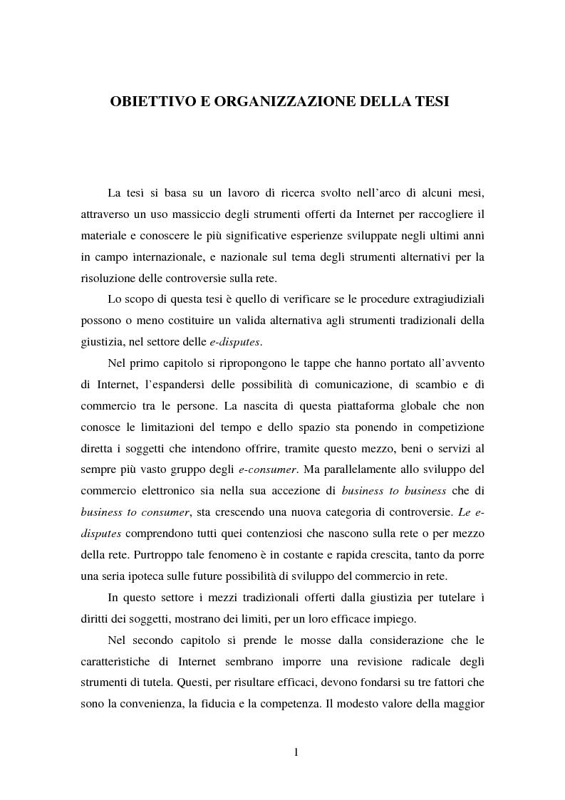 Anteprima della tesi: Gli Adr come alternativa alle controversie su Internet, Pagina 1