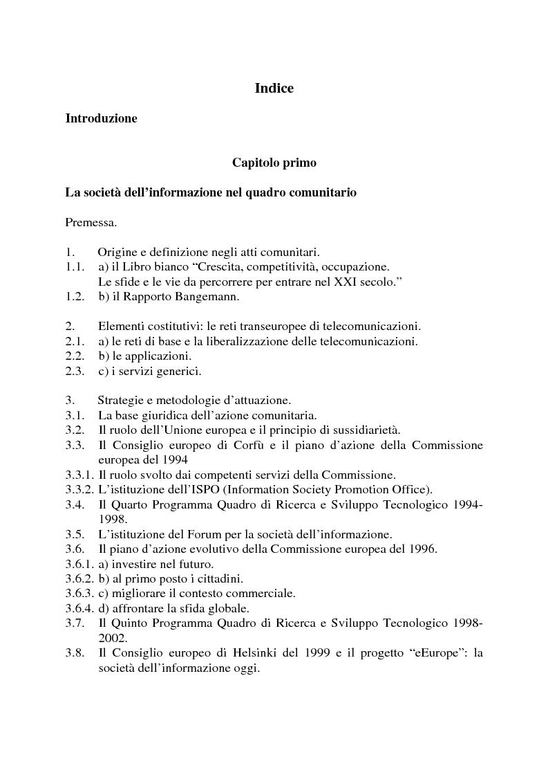 Indice della tesi: La società dell'informazione e la tutela della privacy nell'ordinamento internazionale e comunitario, Pagina 1