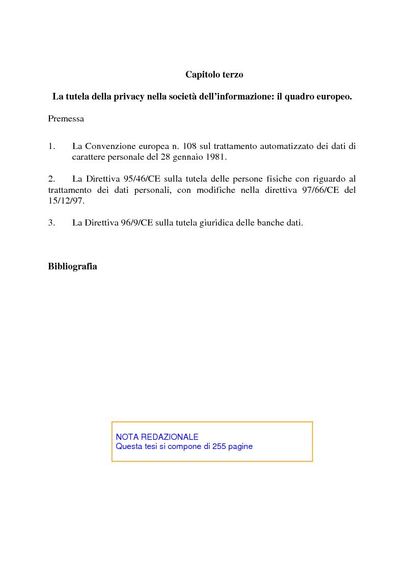 Indice della tesi: La società dell'informazione e la tutela della privacy nell'ordinamento internazionale e comunitario, Pagina 3