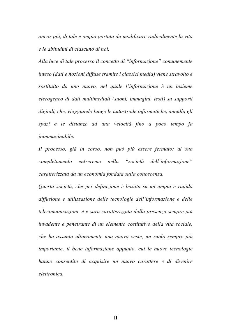 Anteprima della tesi: La società dell'informazione e la tutela della privacy nell'ordinamento internazionale e comunitario, Pagina 2