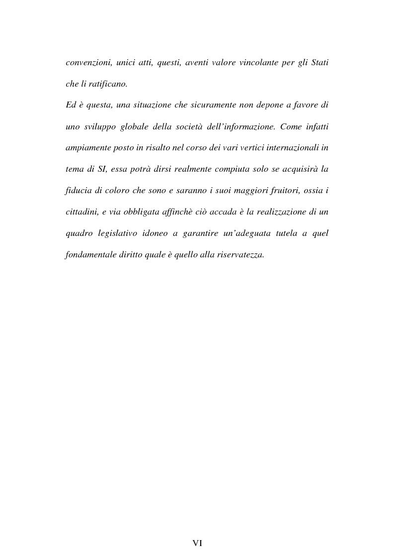 Anteprima della tesi: La società dell'informazione e la tutela della privacy nell'ordinamento internazionale e comunitario, Pagina 6