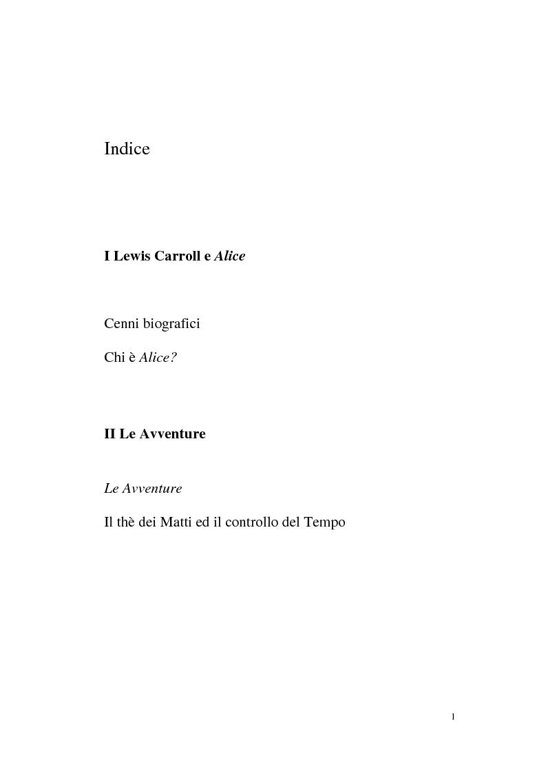 Indice della tesi: Alice tra senso e non senso. Studio su Lewis Carroll, Pagina 1