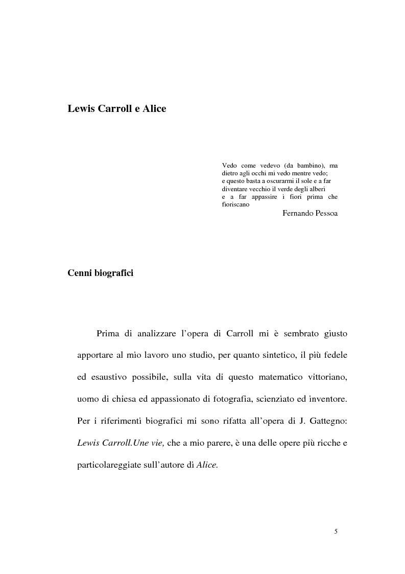 Anteprima della tesi: Alice tra senso e non senso. Studio su Lewis Carroll, Pagina 1