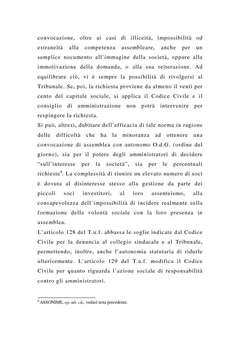 Anteprima della tesi: La tutela delle minoranze nelle società quotate a oltre tre anni dall'entrata in vigore del T.U.F., Pagina 10