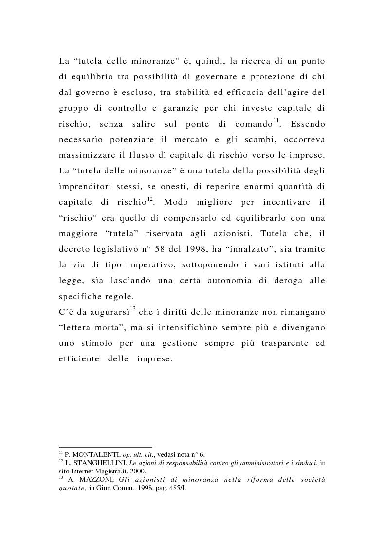 Anteprima della tesi: La tutela delle minoranze nelle società quotate a oltre tre anni dall'entrata in vigore del T.U.F., Pagina 15
