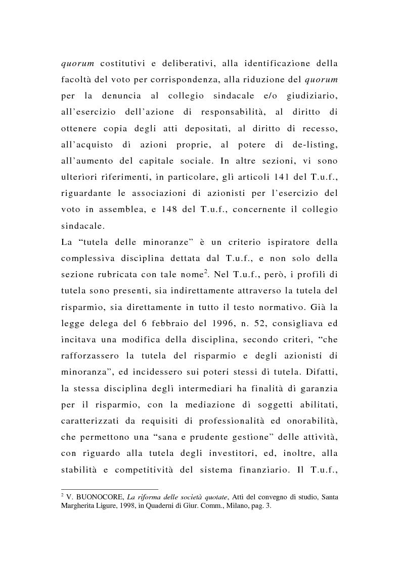 Anteprima della tesi: La tutela delle minoranze nelle società quotate a oltre tre anni dall'entrata in vigore del T.U.F., Pagina 5