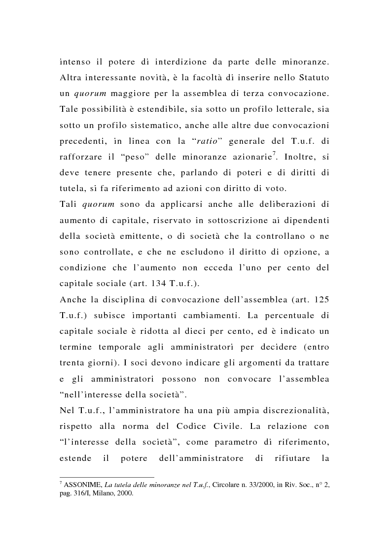 Anteprima della tesi: La tutela delle minoranze nelle società quotate a oltre tre anni dall'entrata in vigore del T.U.F., Pagina 9