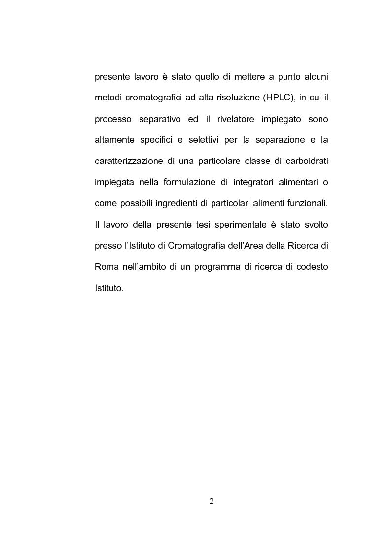 Anteprima della tesi: Separazione e caratterizzazione di FOS e fruttani impiegati nella preparazione di alimenti prebiotici e integratori alimentari, Pagina 2
