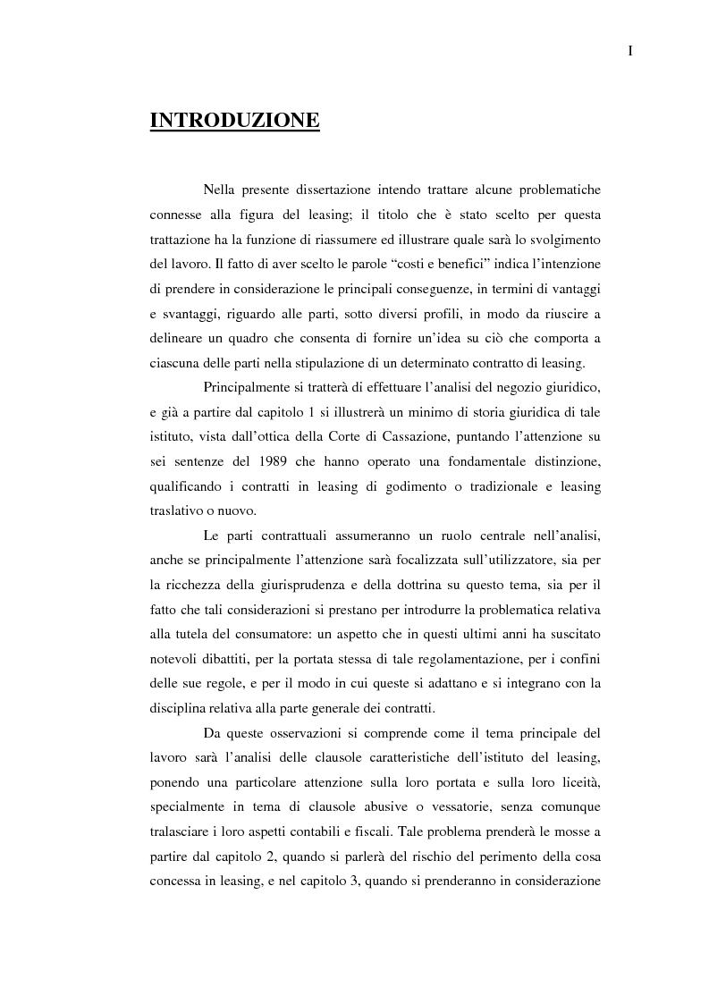 Anteprima della tesi: Costi e benefici secondo i differenti profili giuridici, contabili e tributari delle posizioni delle parti nei contratti di leasing, Pagina 1