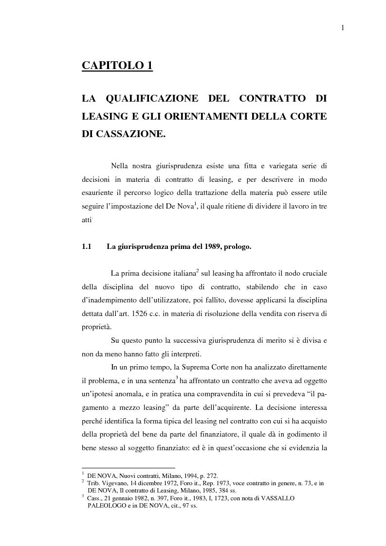 Anteprima della tesi: Costi e benefici secondo i differenti profili giuridici, contabili e tributari delle posizioni delle parti nei contratti di leasing, Pagina 5