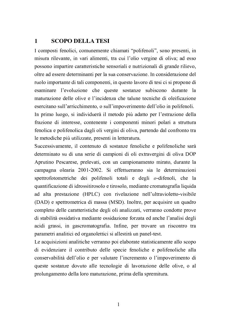 Anteprima della tesi: Valutazione della qualità di oli extravergini di oliva, ottenuti con diverse tecniche di estrazione, in relazione al contenuto di sotanze a struttura fenolica, Pagina 1