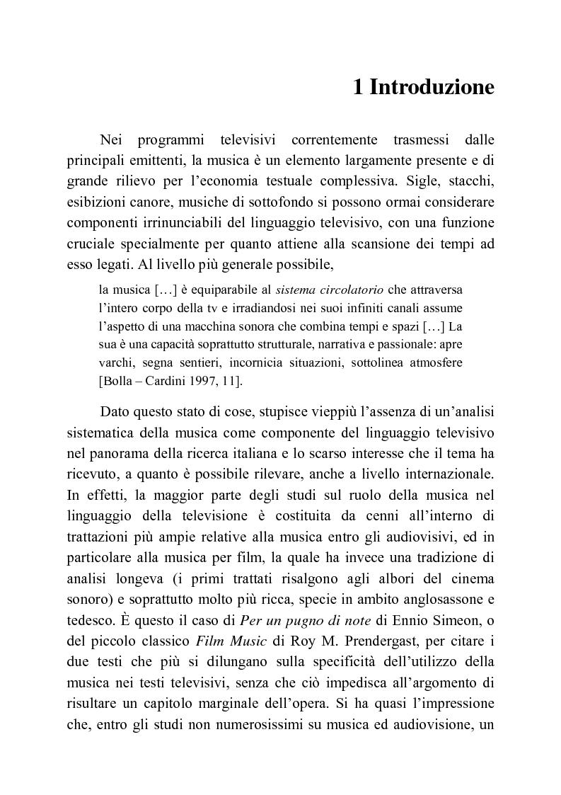 Usi della musica nella neotelevisione: una proposta di tassonomia - Tesi di Laurea
