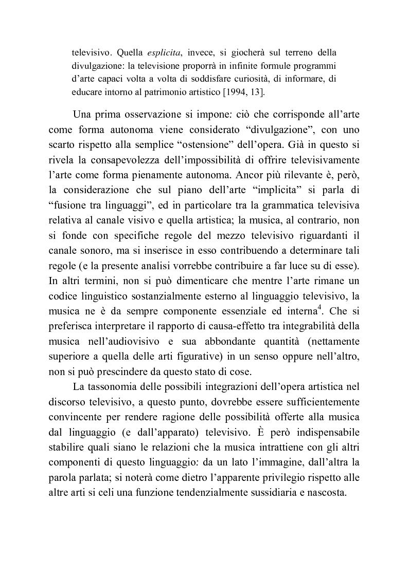 Anteprima della tesi: Usi della musica nella neotelevisione: una proposta di tassonomia, Pagina 14