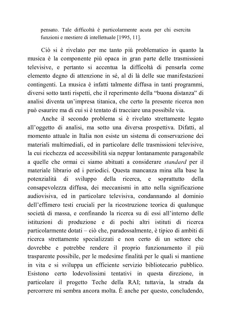 Anteprima della tesi: Usi della musica nella neotelevisione: una proposta di tassonomia, Pagina 7