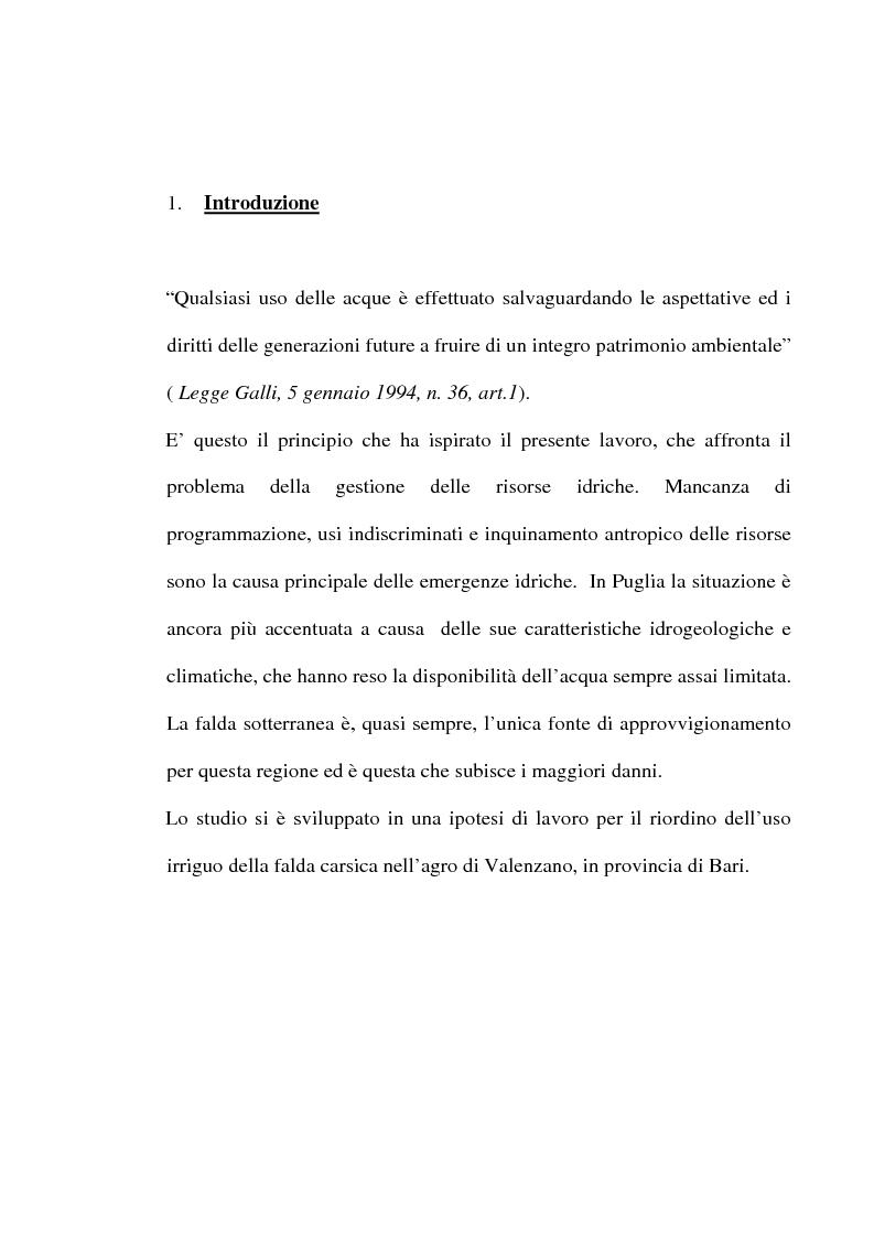 Anteprima della tesi: Ipotesi di riordino dell'uso irriguo della falda carsica in agro di Valenzano in provincia di Bari, Pagina 1