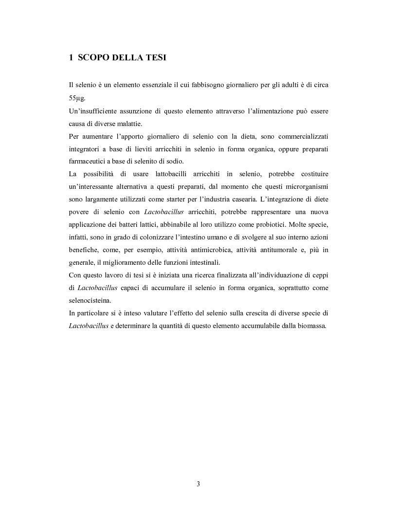 Anteprima della tesi: Accumulo di selenio da parte di specie di Lactobacillus, Pagina 1