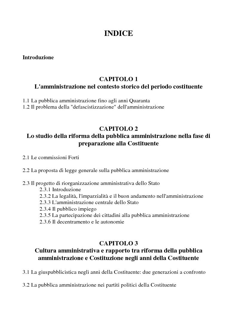 Indice della tesi: Il dibattito sulla riforma della pubblica amministrazione negli anni della ''Costituente'', Pagina 1