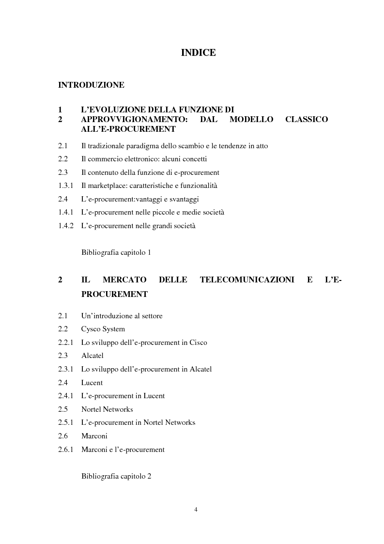Indice della tesi: La gestione dell'e-procurement ed il ruolo delle banche, Pagina 1