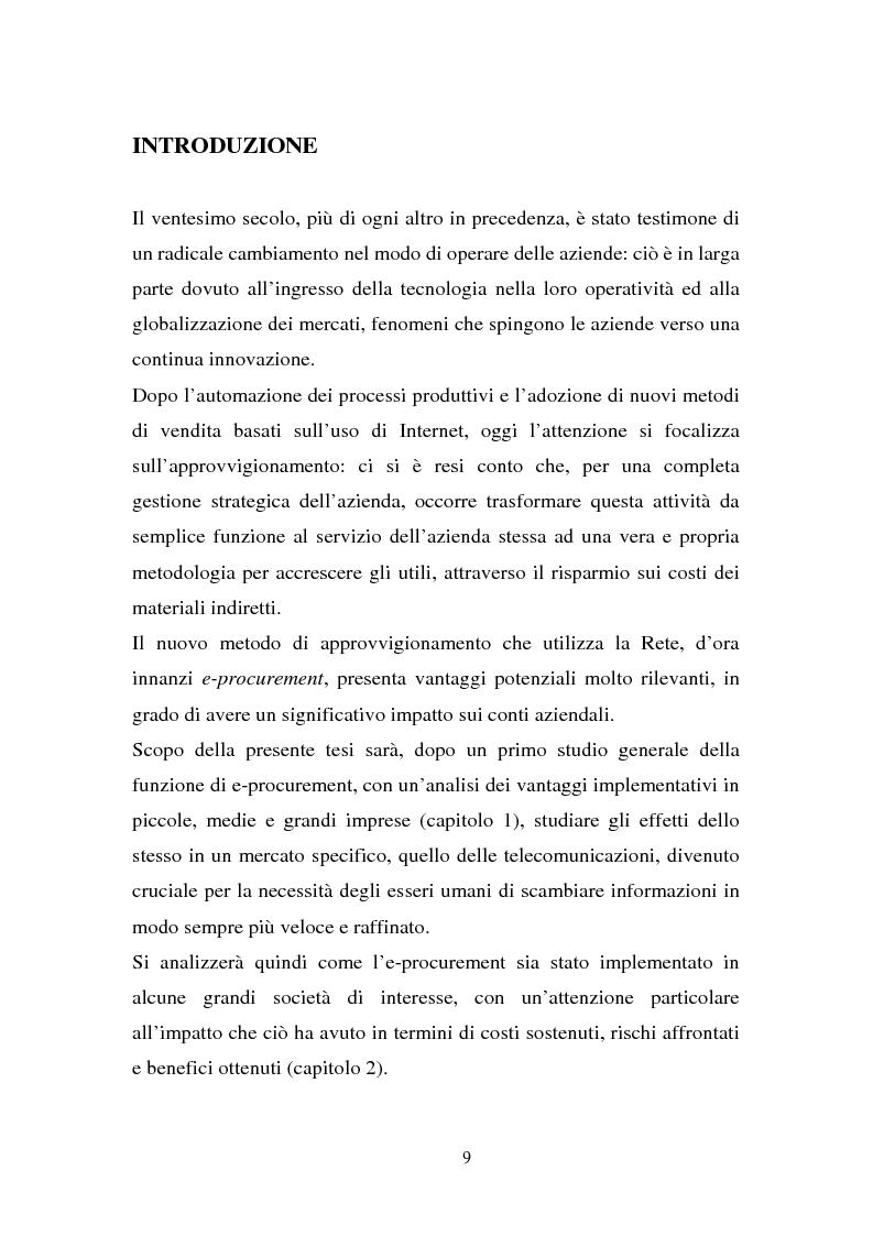 Anteprima della tesi: La gestione dell'e-procurement ed il ruolo delle banche, Pagina 1