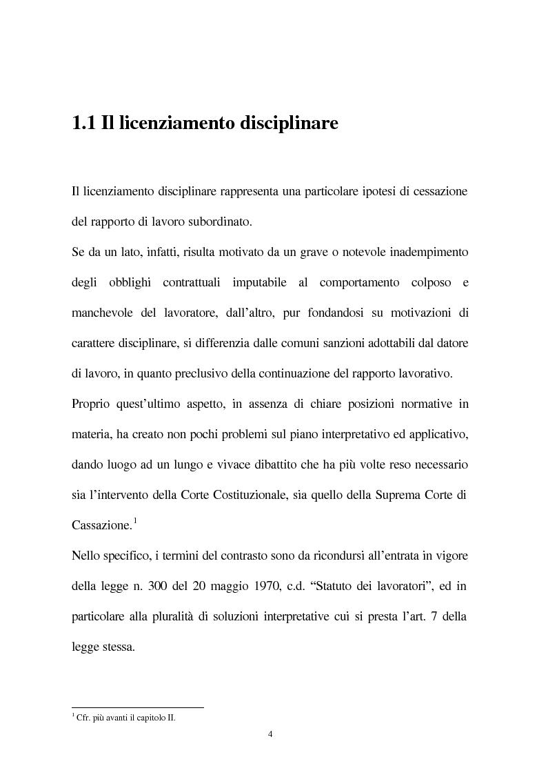 Anteprima della tesi: Il licenziamento disciplinare del dirigente, Pagina 1