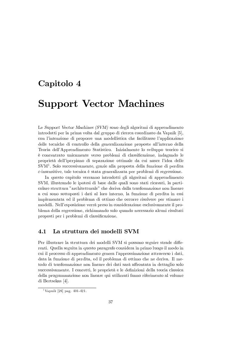 Anteprima della tesi: Support Vector Machines e apprendimento statistico per l'analisi non parametrica della regressione: nuovi sviluppi teorici, software e applicazioni finanziarie, Pagina 1