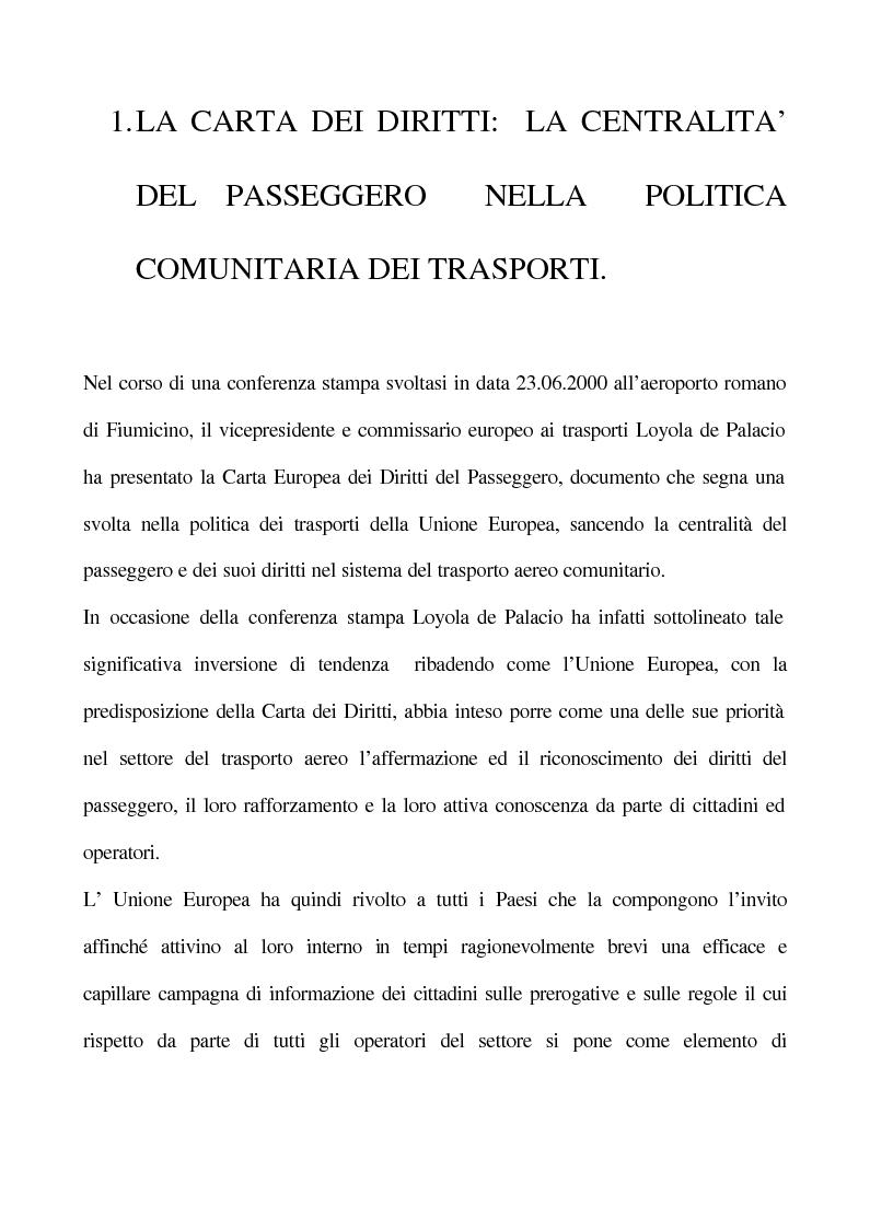 Anteprima della tesi: La Carta dei Diritti del Passeggero, Pagina 1