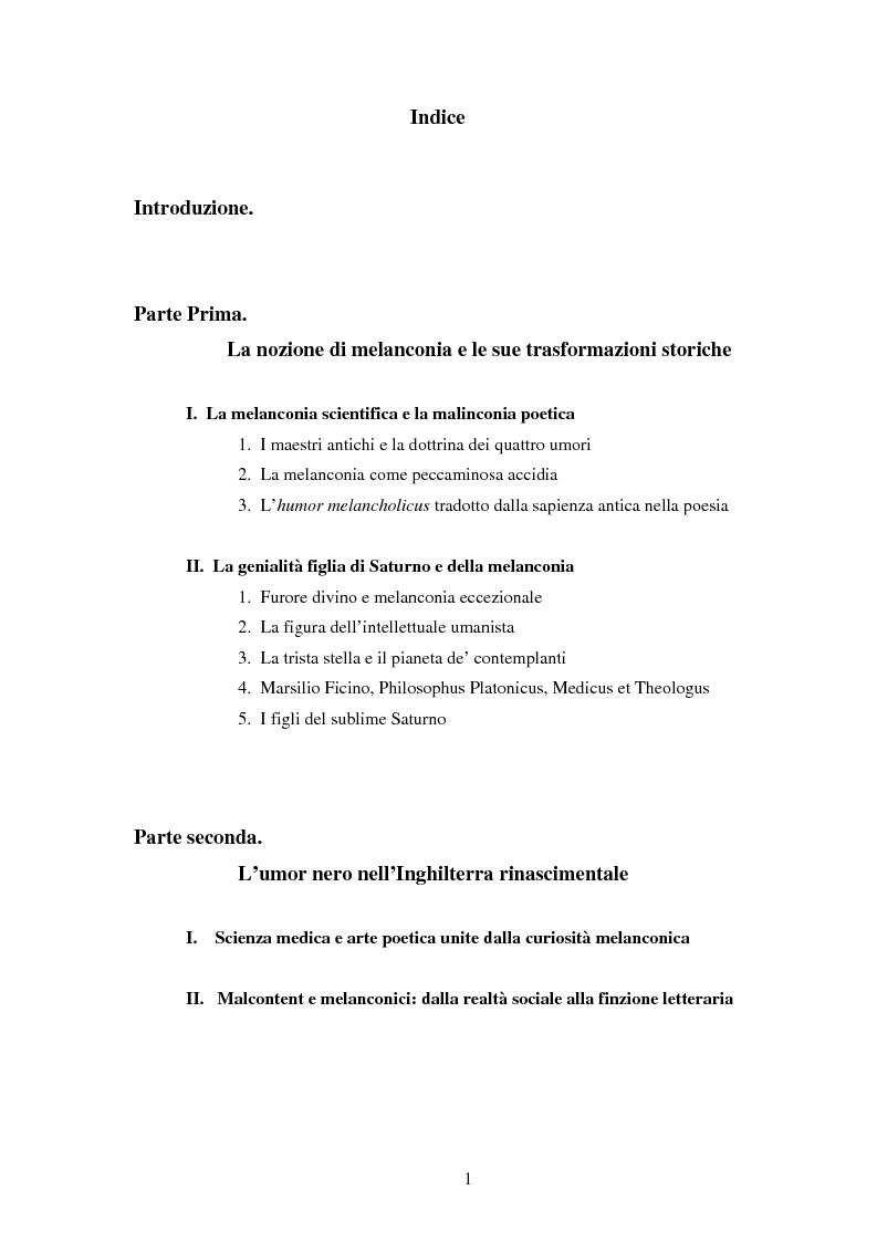 Indice della tesi: Amleto e la figura del melanconico nella drammaturgia elisabettiana, Pagina 1