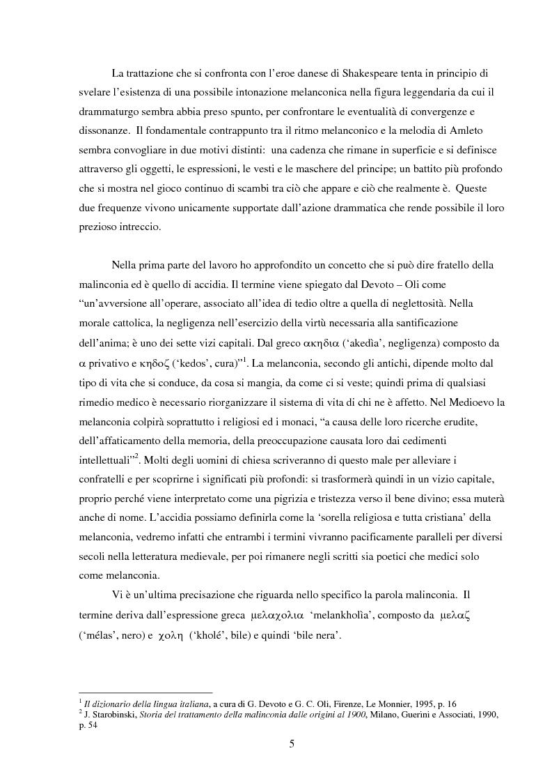 Anteprima della tesi: Amleto e la figura del melanconico nella drammaturgia elisabettiana, Pagina 2