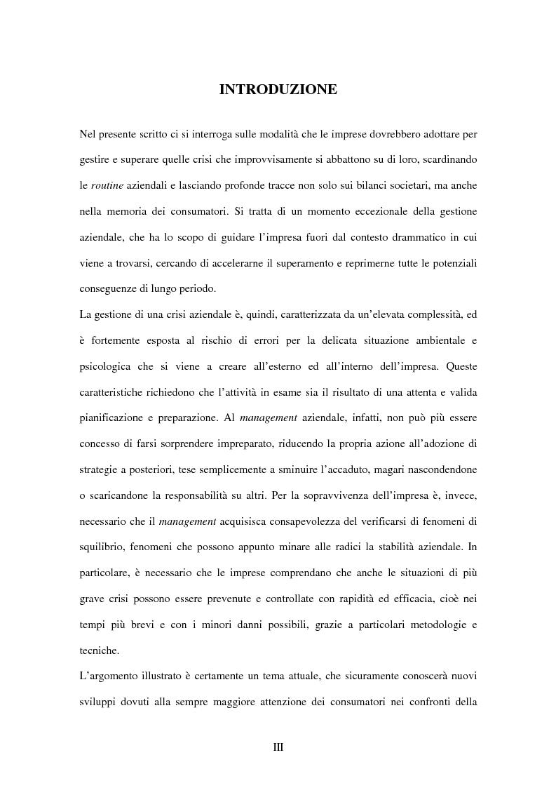 Anteprima della tesi: Crisis management: aspetti teorici e riflessioni su casi reali, Pagina 1