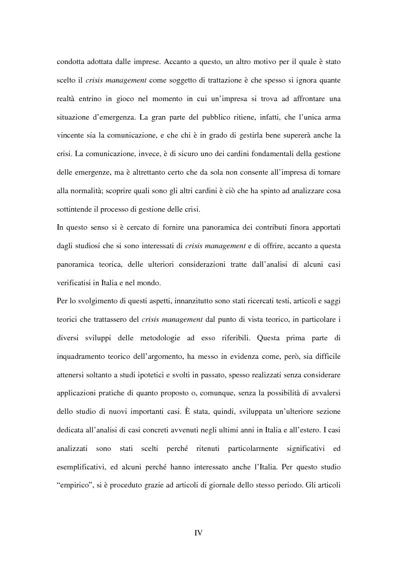 Anteprima della tesi: Crisis management: aspetti teorici e riflessioni su casi reali, Pagina 2