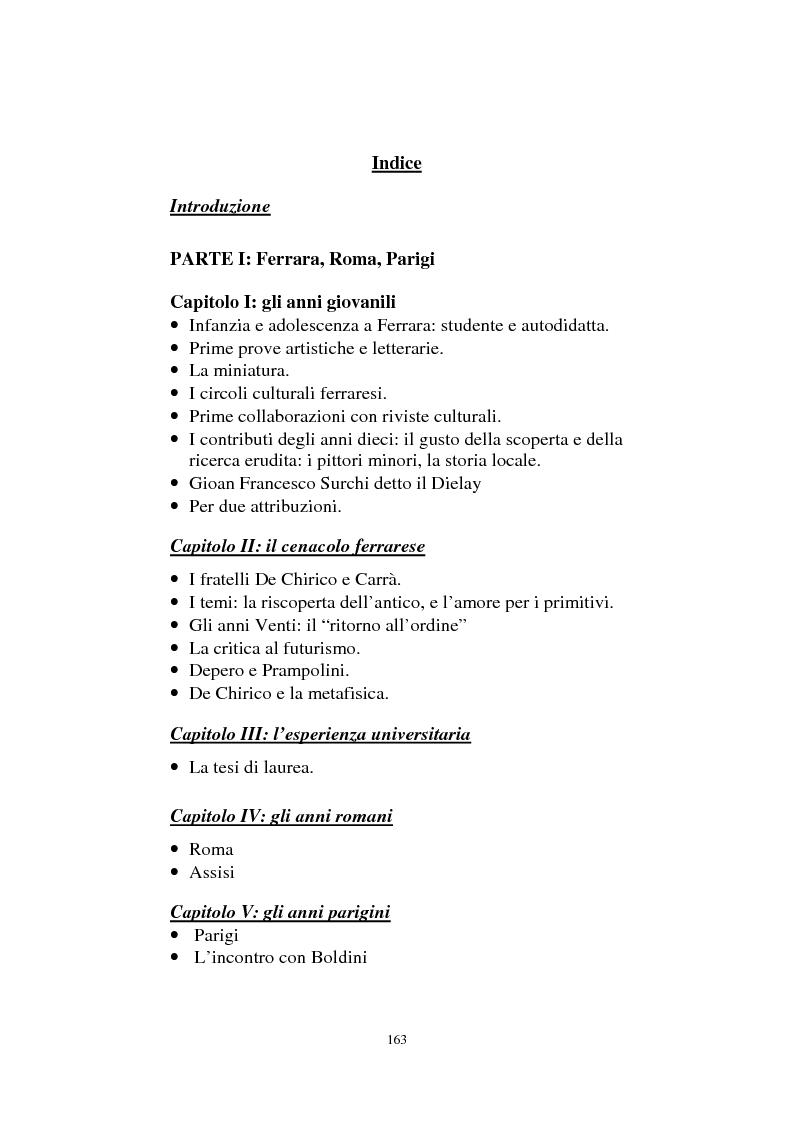 Indice della tesi: De Pisis al museo. Dalla collezione privata all'esposizione pubblica, Pagina 1