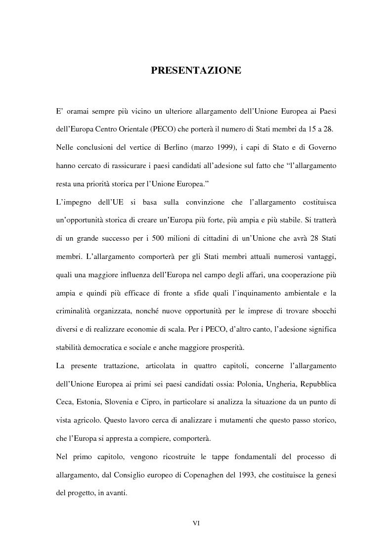 Anteprima della tesi: Allargamento dell'Unione Europea ai paesi Peco: conseguenze sul settore agricolo, Pagina 1