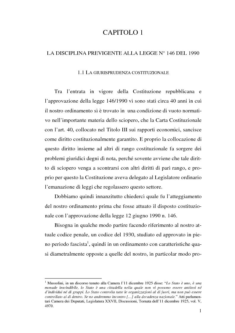 Anteprima della tesi: La commissione di garanzia nella vecchia e nella nuova disciplina della legge sullo sciopero dei servizi pubblici essenziali, Pagina 1