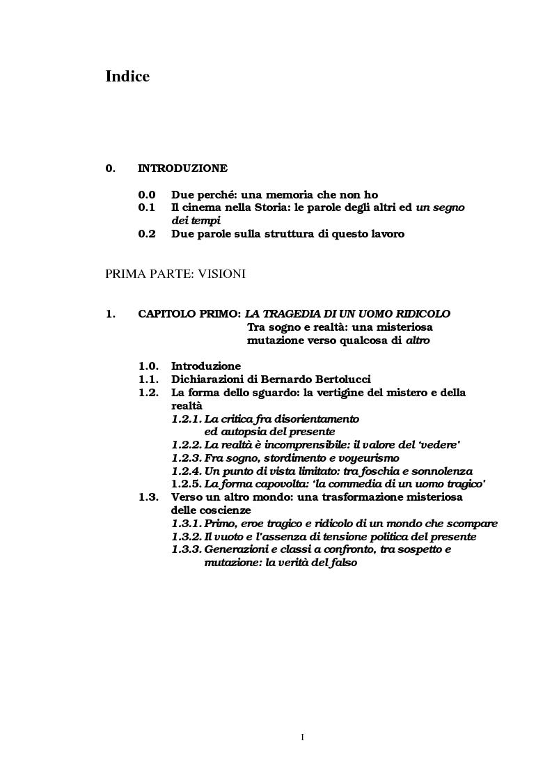 Indice della tesi: Il cinema e l'impatto del terrorismo sulla società italiana. Alcune ipotesi storiografiche sulla svolta degli anni Ottanta, Pagina 1