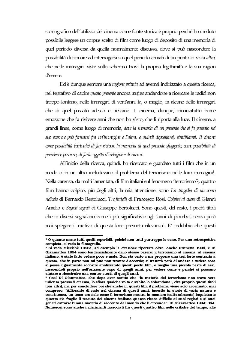 Anteprima della tesi: Il cinema e l'impatto del terrorismo sulla società italiana. Alcune ipotesi storiografiche sulla svolta degli anni Ottanta, Pagina 4