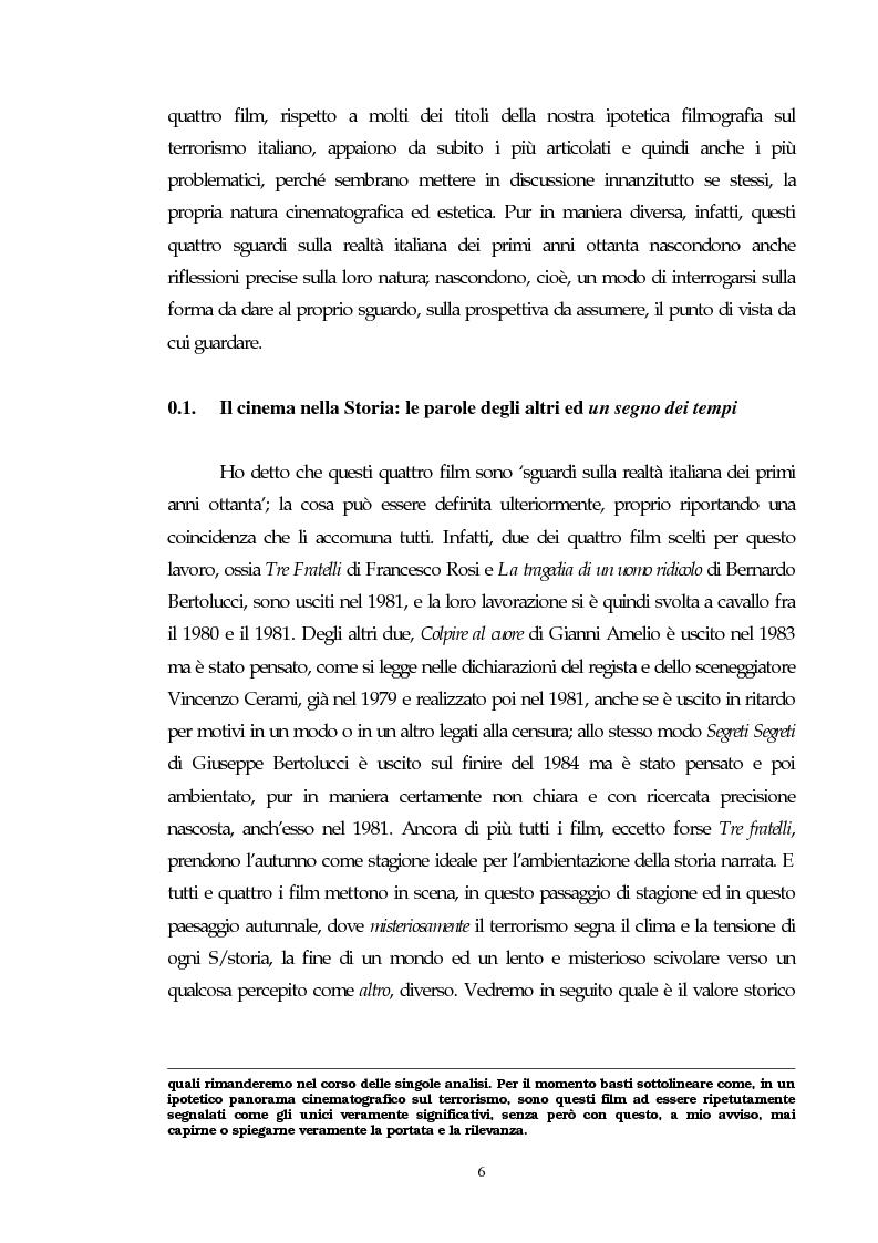 Anteprima della tesi: Il cinema e l'impatto del terrorismo sulla società italiana. Alcune ipotesi storiografiche sulla svolta degli anni Ottanta, Pagina 5