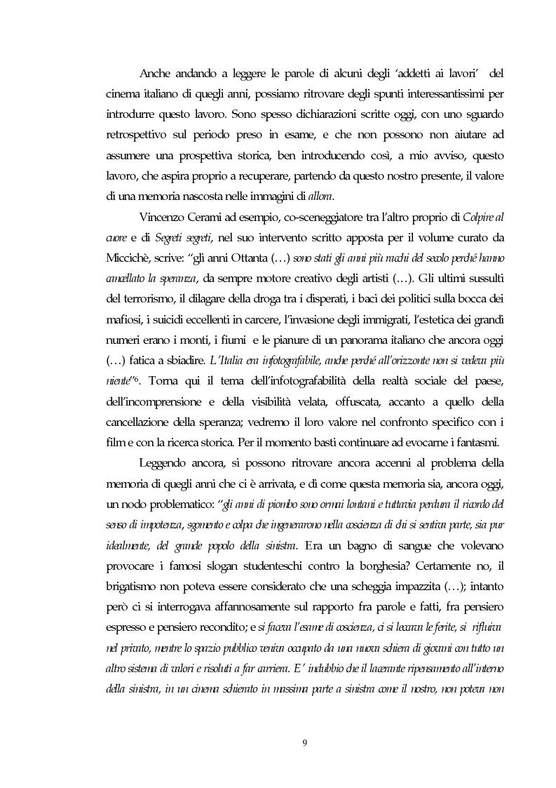 Anteprima della tesi: Il cinema e l'impatto del terrorismo sulla società italiana. Alcune ipotesi storiografiche sulla svolta degli anni Ottanta, Pagina 8