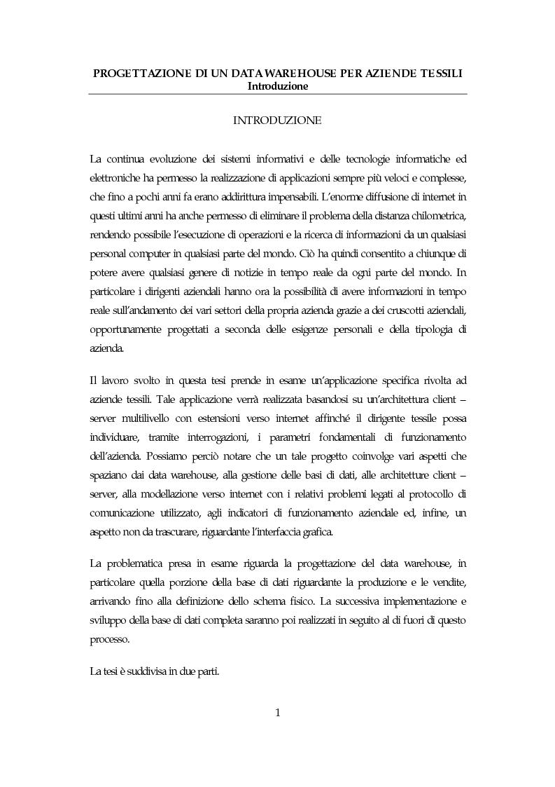 Anteprima della tesi: Progettazione di un data warehouse per aziende tessili, Pagina 1