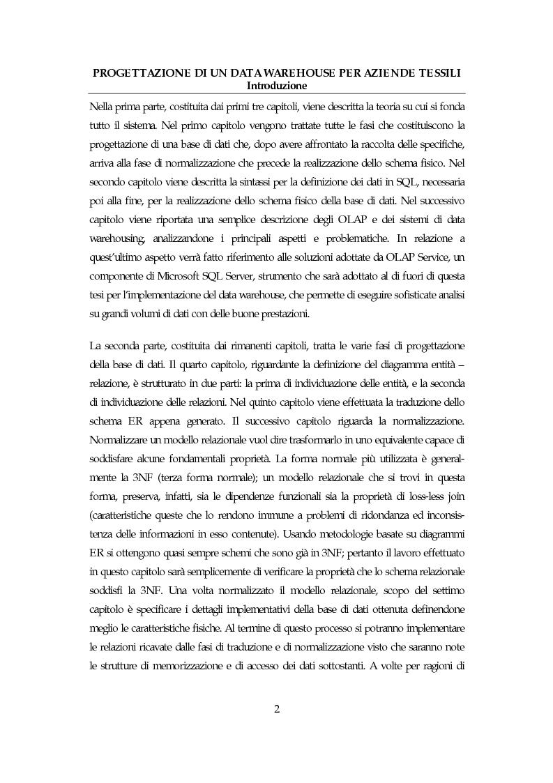 Anteprima della tesi: Progettazione di un data warehouse per aziende tessili, Pagina 2