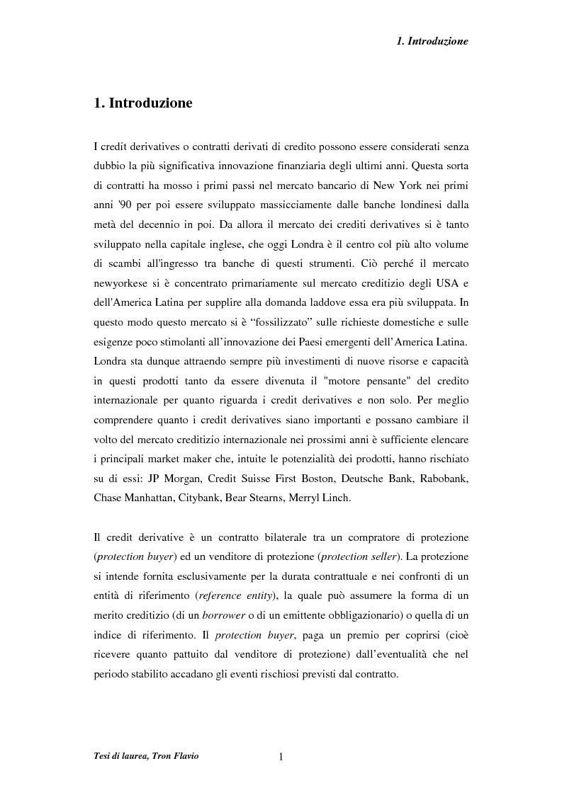 Anteprima della tesi: Il mercato dei credit derivatives, Pagina 1