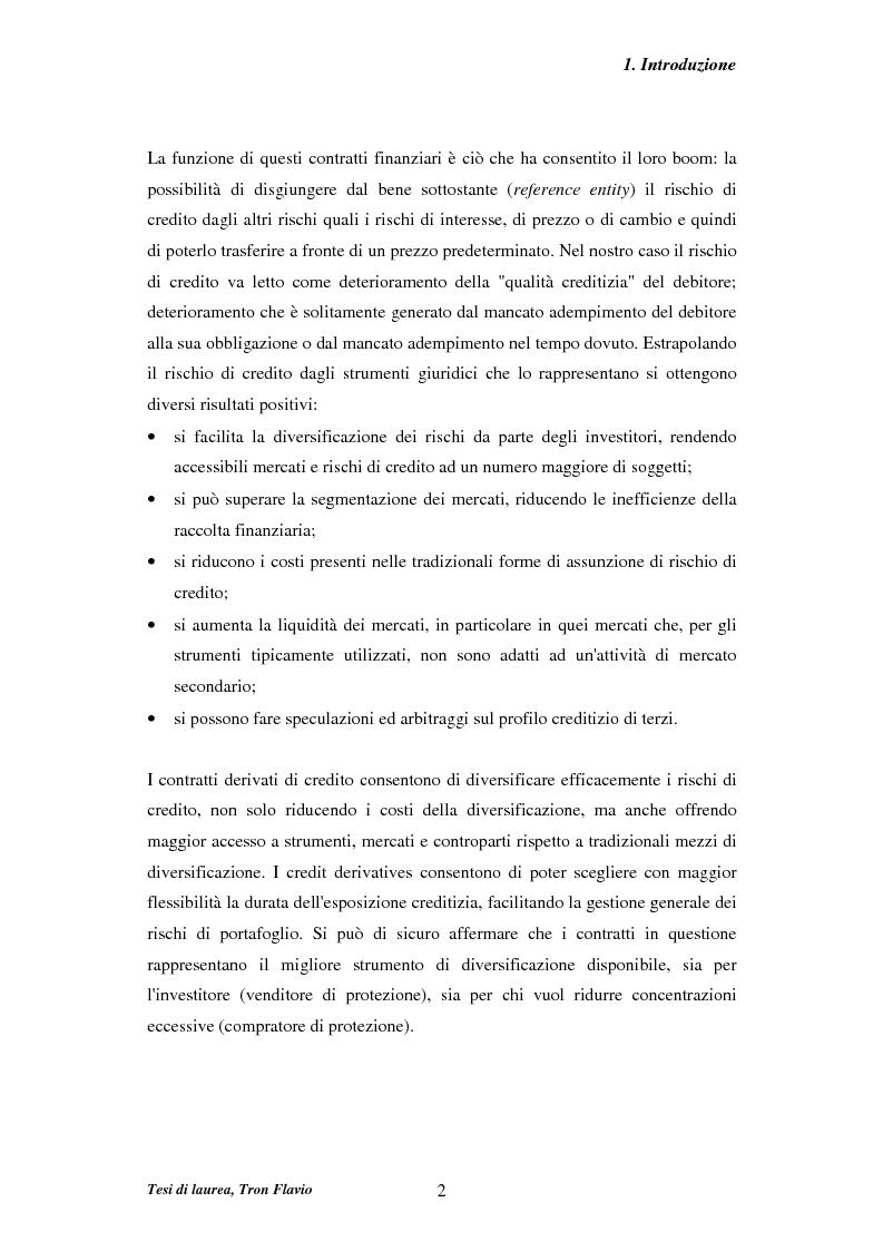 Anteprima della tesi: Il mercato dei credit derivatives, Pagina 2
