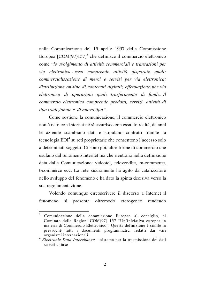 Anteprima della tesi: Il commercio elettronico. Profili giuridici della tutela del consumatore, Pagina 2