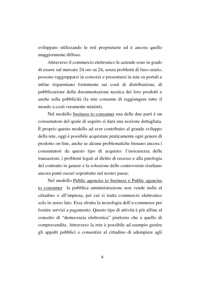 Anteprima della tesi: Il commercio elettronico. Profili giuridici della tutela del consumatore, Pagina 6