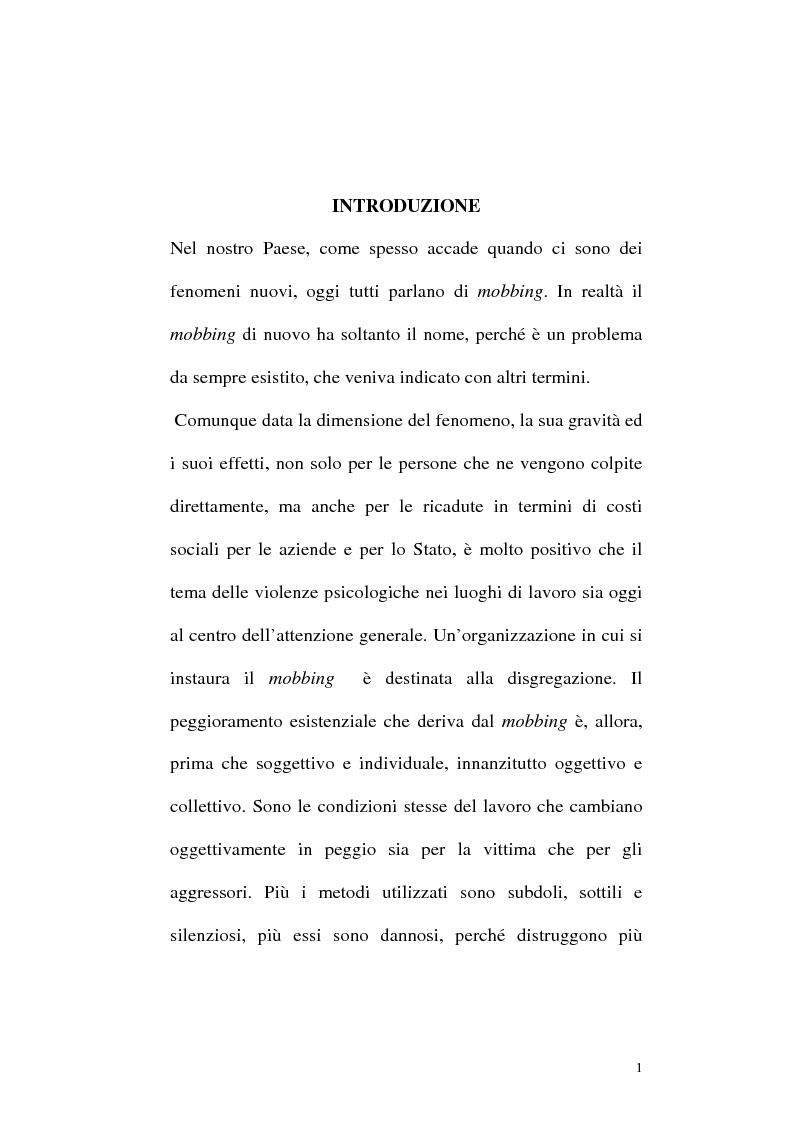 Anteprima della tesi: Il mobbing: concetto e fenomenologia giuridica, Pagina 1