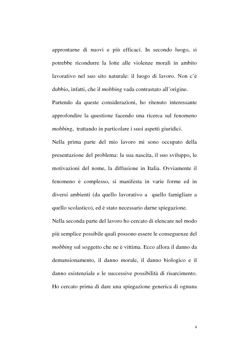 Anteprima della tesi: Il mobbing: concetto e fenomenologia giuridica, Pagina 4