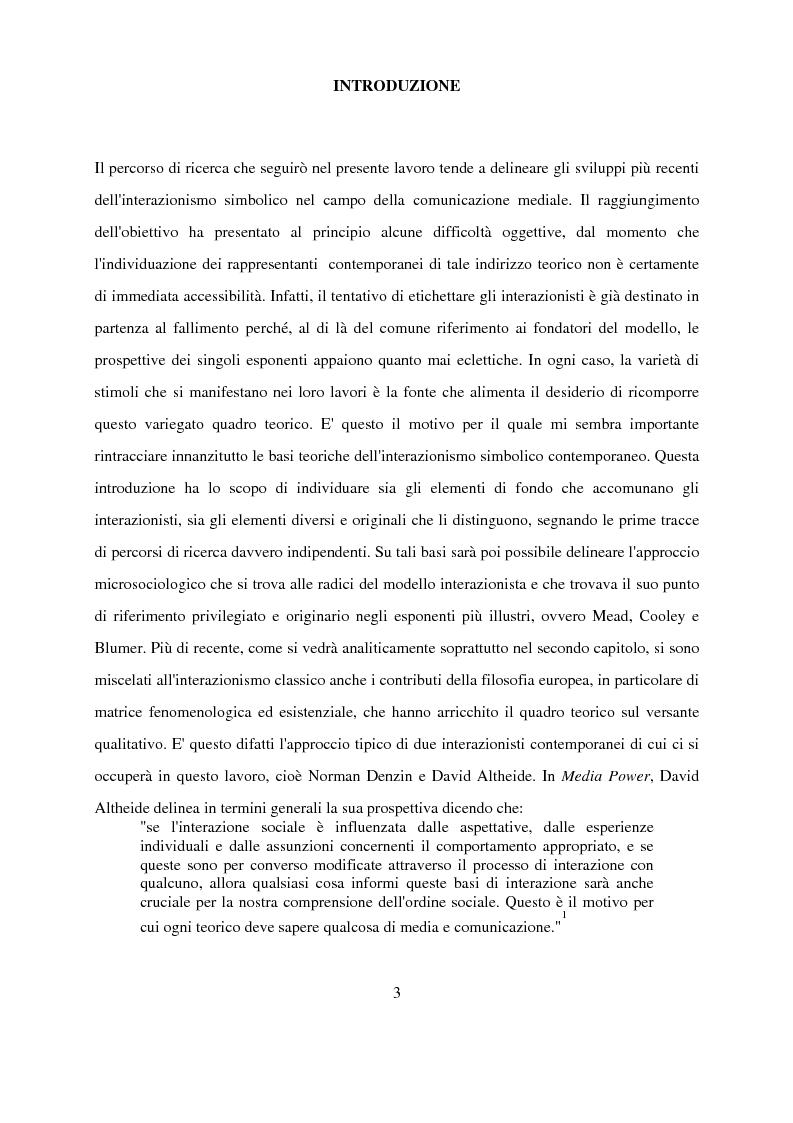 Anteprima della tesi: Recenti contributi dell'interazionismo simbolico alla ricerca sui mass media, Pagina 1