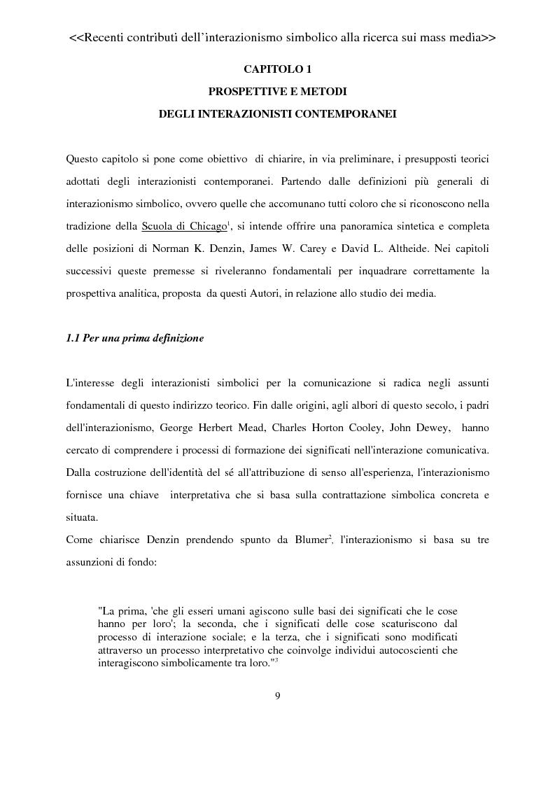 Anteprima della tesi: Recenti contributi dell'interazionismo simbolico alla ricerca sui mass media, Pagina 7