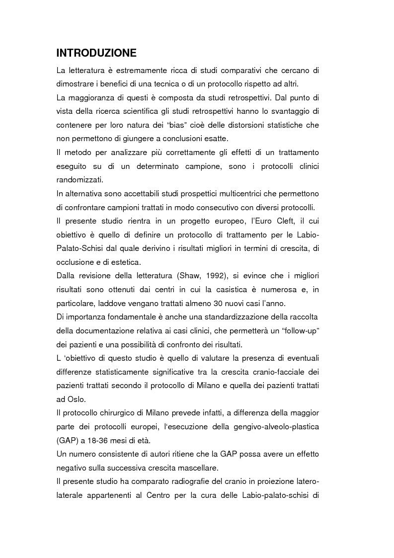 Anteprima della tesi: La crescita cranio-facciale nei pazienti affetti da labiopalatoschisi monolaterale completa: studio multicentric, Pagina 1