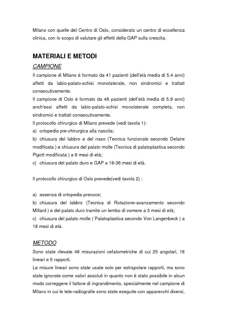 Anteprima della tesi: La crescita cranio-facciale nei pazienti affetti da labiopalatoschisi monolaterale completa: studio multicentric, Pagina 2