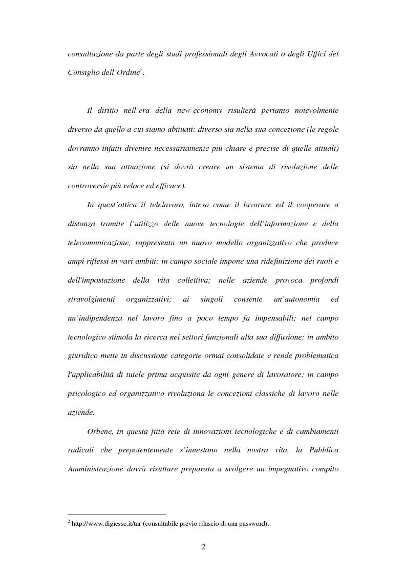 Anteprima della tesi: Il telelavoro nelle pubbliche amministrazioni, Pagina 2
